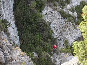 Photo: retour vers la cheminée d'escalade