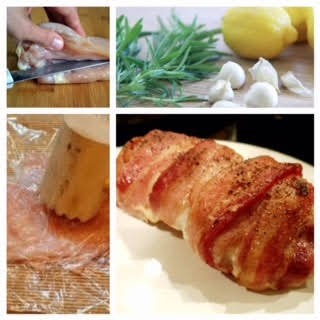 Bacon-Wrapped Rosemary Garlic Chicken with Lemon.