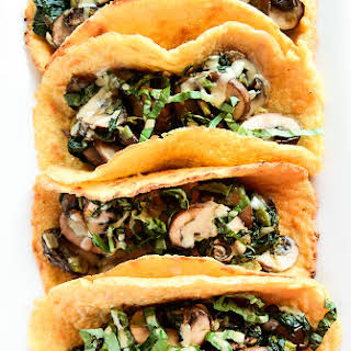 Vegan Crêpe Tacos with Warm Spinach-Mushroom Filling.