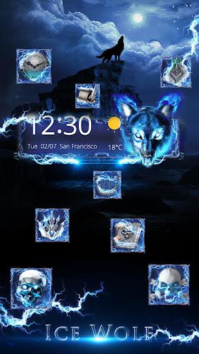 3D blue fire Ice wolf launcher theme 1.2.4 screenshots 3