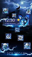 screenshot of 3D blue fire Ice wolf launcher theme