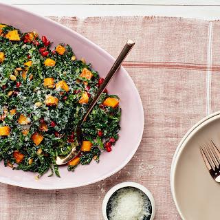 Kale Salad with Butternut Squash, Pomegranate, and Pumpkin Seeds Recipe | Epicurious.Com Recipe