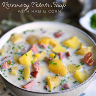 Slow Cooker Rosemary Potato Soup with Ham and Corn.