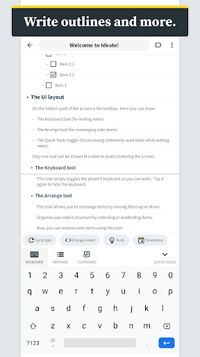 ideate - outlines, notes, tasks, and thoughts screenshot 2