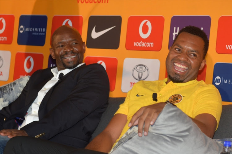 Kaizer chiefs coach Steve Komphela and Itumeleng Khune during the Kaizer Chiefs and Mamelodi Sundowns press conference at Medshield Offices on January 24, 2018 in Johannesburg, South Africa.