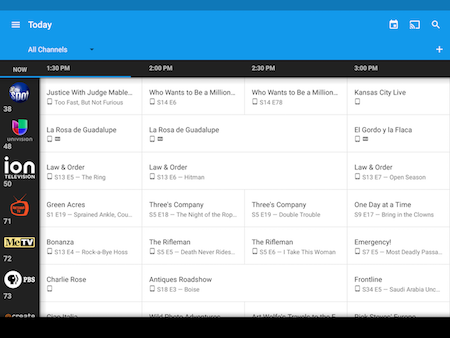 Use the on-screen guide in the Google Fiber TV app on Android.