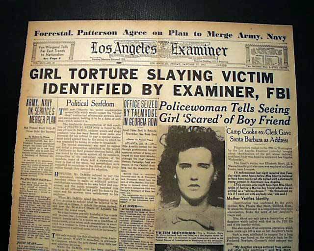 Front page of the Los Angeles Examiner after the Black Dahlia murder.