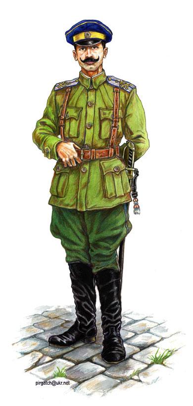 Поручник богданівського полку (реконструкція Богдана Піргача). У спогадах, опублікованих у 1918 та 1926 роках, є згадки, що Семен Лощенко був у синьо-жовтому військовому картузі.