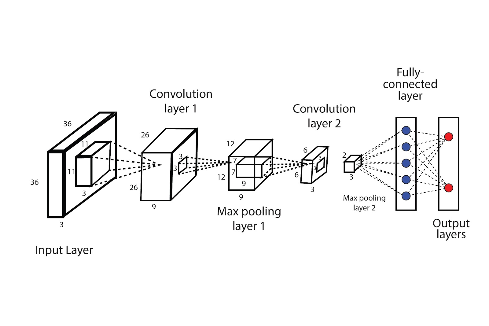 The systematic presentation of the architecture of convolutional neural networks(CNN).