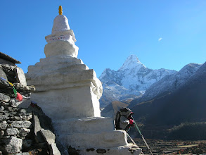 Photo: Early morning and we have almost arrived the village of Pangboche