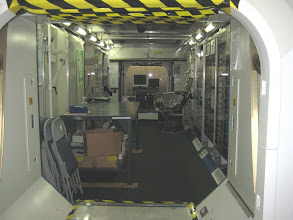 Photo: Interior of the Payload Development Laboratory (i.e. mockup of module on the International Space Station)