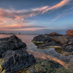 Sunset on Ahtopol bay by Anton Donev - Landscapes Waterscapes ( burgas province, stone, rock, dramatic sky, beach, coastline, landscape, sky, nature, seaweed, pink, water surface, bulgaria, water, orange, cirrus, scenics, cliff, lighthouse, sea, beauty in nature, navy blue, dusk, black sea, tower, turquoise, ahtopol, blue, bay, sunset, wave, rocky coastline, summer, cloud, , HDR, Landscapes )