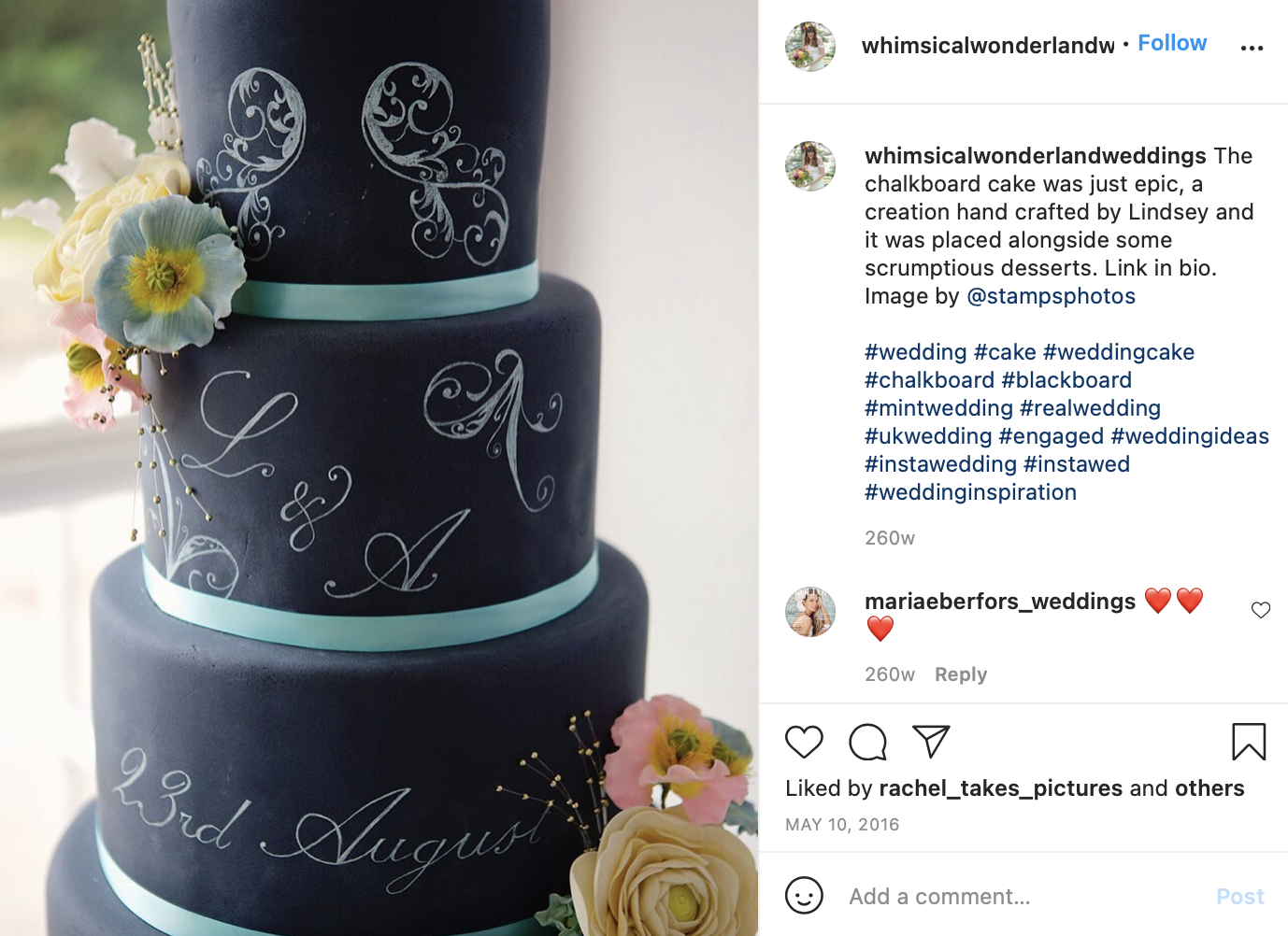 mint green and black wedding cake with light pink florals