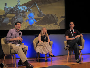 Photo: Mars rover Q&A with John Callas, Ashley Stroupe and Scott Maxwell.  The rover drivers tell stories about Spirit & Opportunity!