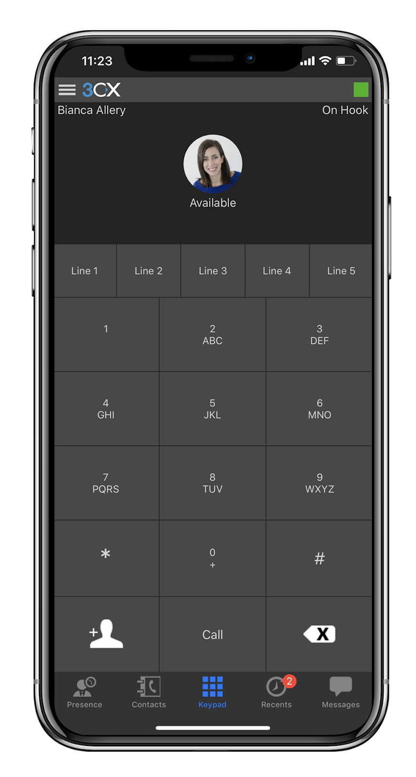 The 3CX App for iOS on iPhone 6.
