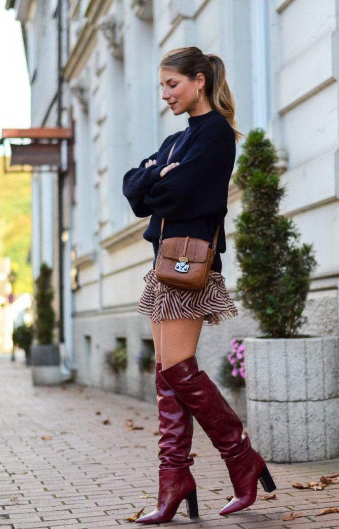 Sweater and a skirt: the most fashionable winter combinations 22