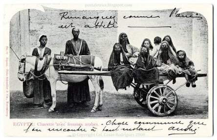 Urban Transport in Egypt: Arab Women on a Donkey Cart (1905-1906)