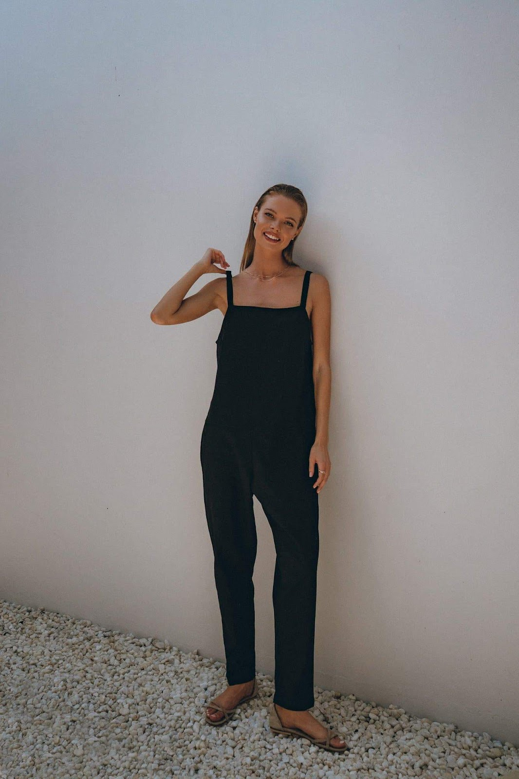 Linen Jumpsuit in White and Black