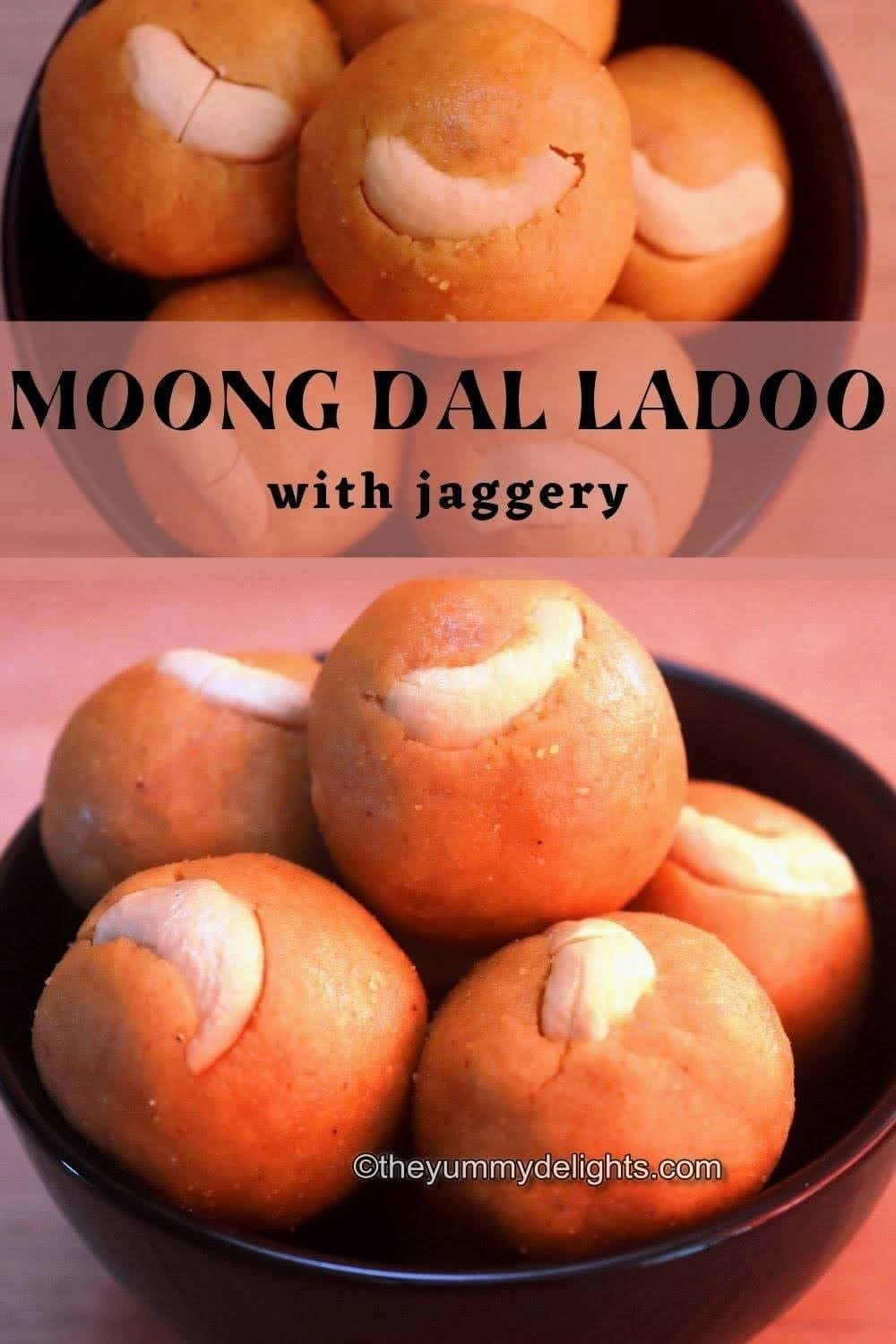 close-up image of moong dal ladoo made with jaggery and garnished with cashews and served on a black bowl.