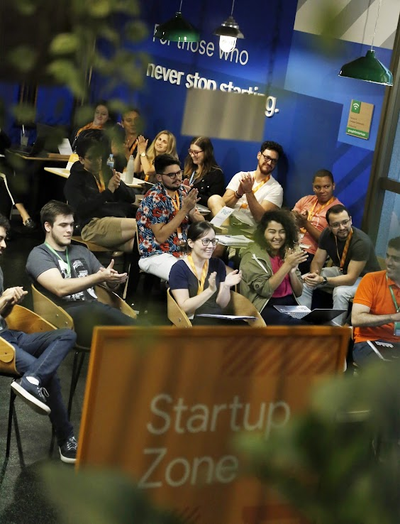 Audience during a talk at Google for Startups Campus