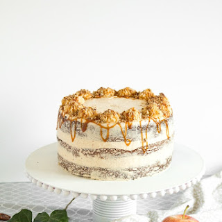 Apple Cardamom Cake with Caramel Pecan Butter Frosting.