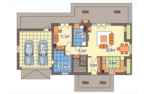 Aston 2 wersja B podwójny garaż z boku - Rzut parteru