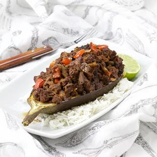 Spicy Sichuan beef-mushroom stuffed eggplant