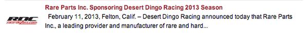 Rare Parts sponsors Desert Dingo Racing in Race Dezert