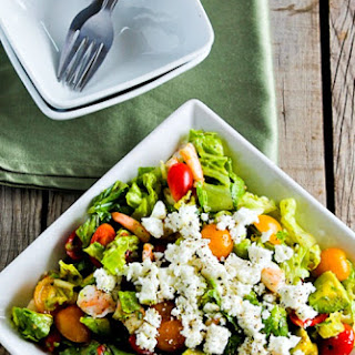 Salad with Tomatoes, Avocado, Feta, Shrimp, and Caper Vinaigrette Recipe