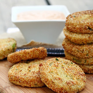 Fried Green Tomatoes with Barbecue Buttermilk Dipping Sauce.