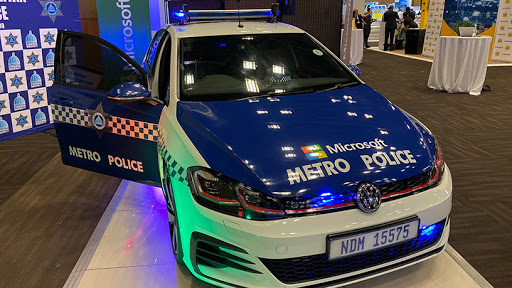 One of the metro police safer cities unit vehicles is on display at GovTech 2019. (Source: Microsoft SA)