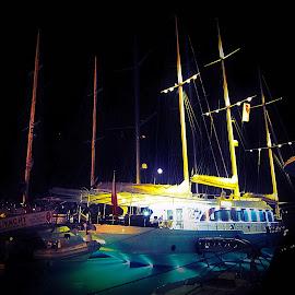 night by Fereshteh Molavi - Transportation Boats