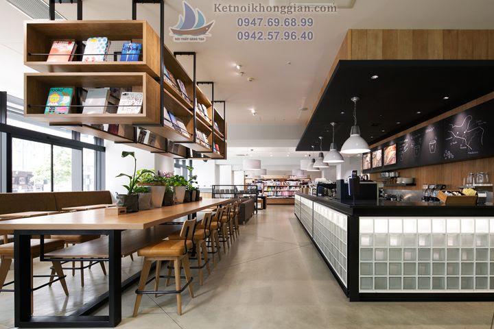 thiết kế nhà sách kiêm quán cafe độc đáo