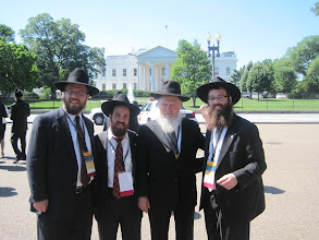 Photo: Group of Chabad Rabbis representing New Jersey in front of the While House Rabbi Levi Wolosow, Rabbi Moshe Herson, Rabbi Shmaya Galprin