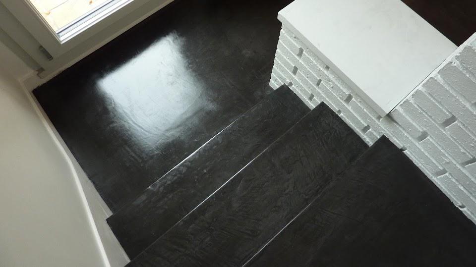 Escalier et sol  en béton ciré