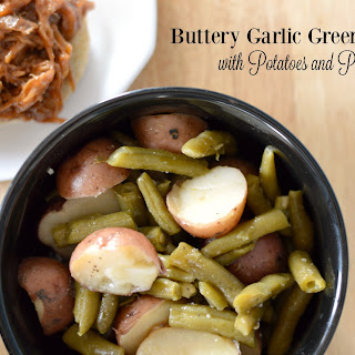 Buttery Garlic Green Beans with Potatoes and Pork