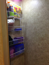 Photo: Bathroom Mod: Wire coated shelf on back wall of lav. Plastic shower curtain will protect during shower.