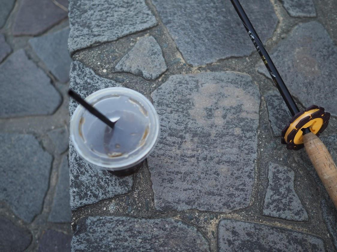 テンカラ竿とアイスコーヒー