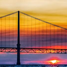 Mackinac Bridge by Richard Michael Lingo - Buildings & Architecture Bridges & Suspended Structures ( michigan, sunset, bridges, landscape, architecture )
