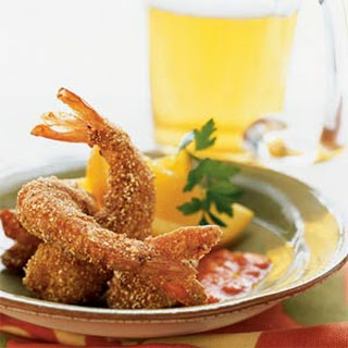 Cornmeal-Cumin-crusted Shrimp with Red Pepper-Chipotle Dipping Sauce