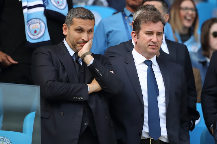 Khaldoon Al Mubarak chairman and Ferran Soriano the Chief Executive Officer of Manchester City during the Premier League match between Manchester City and Tottenham Hotspur at Etihad Stadium on April 20, 2019 in Manchester, United Kingdom.
