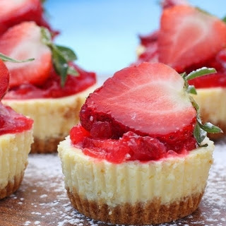 Mini Lemon Cheesecakes with Strawberry Topping Recipe