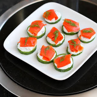 Smoked & Cucumber Appetizer Recipe with Caper Yogurt.