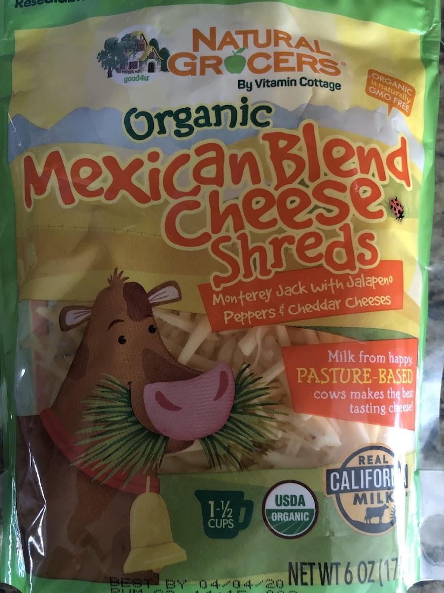 Organic Mexican Blend Cheese Shreds
