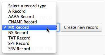 MX record Type drop-down option