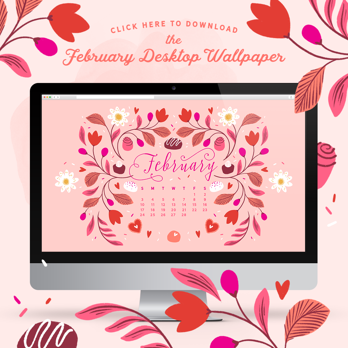 February 2019 Illustrated Desktop Wallpaper