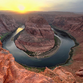 Horseshoe Bend Impression by Michael Otter - Landscapes Sunsets & Sunrises
