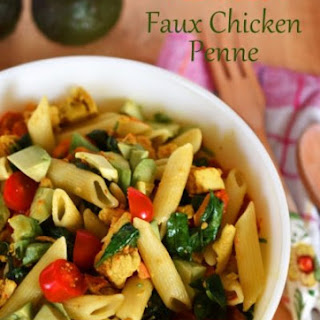 Vegan Faux Chicken Penne with Tomatoes, Spinach and Avocado Recipe