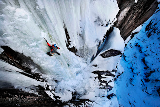 Photo: Ice climbing on a frozen waterfall in Norway