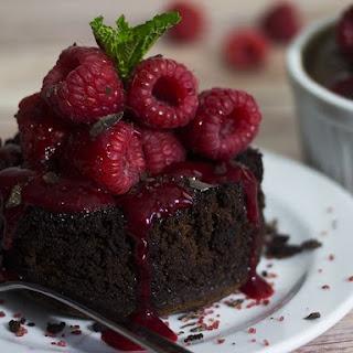 Warm Chocolate Cake & Raspberry Sauce